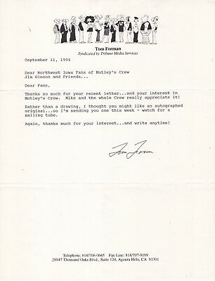 TOM FORMAN autographed 8x11 typed letter     GREAT CARTOONIST      MOTLEY'S CREW