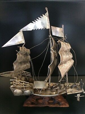 Antique Chinese Silver War Boat On Wooden Base