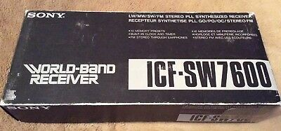 SONY ICF-SW7600 Boxed  WORLD-BAND RECEIVER RADIO SW/LW/MW/FM Aerial Earplugs