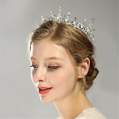 Baroque Crystal Queen Crown Tiara Retro Bronze Full Circle Headband Wedding UP