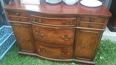 Vintage 1950's Credenza sideboard buffet. 5 Drawer, 2 side cabinets all wood