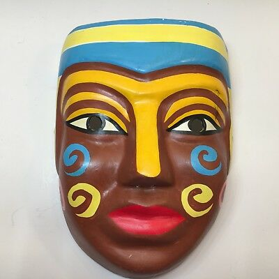 Chinese Paper Mache Mask Hand Painted Brown Face With Red Lips