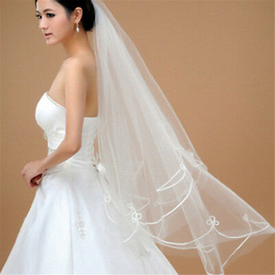 150cm White Simple Two Layer Tulle Weddings Bridal Accessories EZ