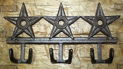 Cast Iron STAR Coat Hooks Hat Hook Towel Rack Western Cowboy Rustic Decor HUGE