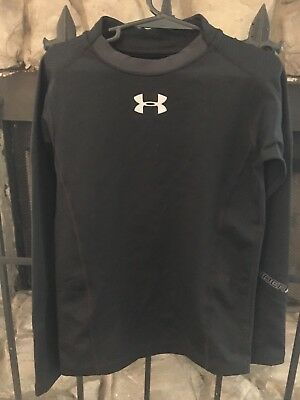 Boy's YXS Size 6 Under Armour Cold Gear Tight Fitted Shirt Black