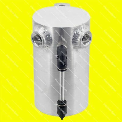 """0.5L Brushed Aluminium Oil Catch Can With 3/8"""" NPT Inlets + Drain Plug"""