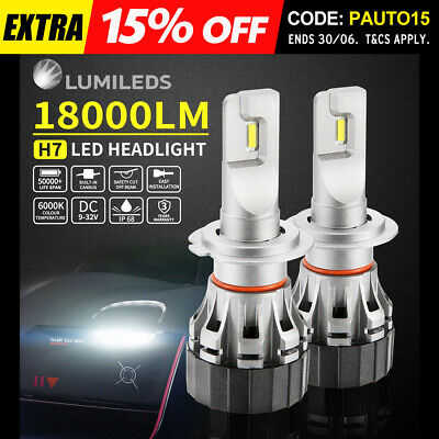 2x H7 LED Headlight Kit Light Bulbs Lamp 18000LM 72W White Beam 6000K Upgrade