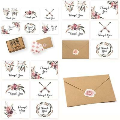 Rustic Thank You Cards Baby Shower Wedding Business Set Of 36 Boho Flower Sticke