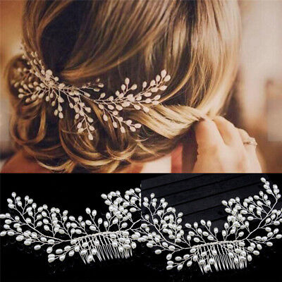Luxury Vintage Bride Hair Accessories Handmade Pearl Wedding Jewelry Comb S6