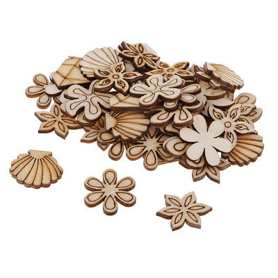 100x Natural Unfinished Wood Flower Shell Shape Wooden Plaque for DIY Craft