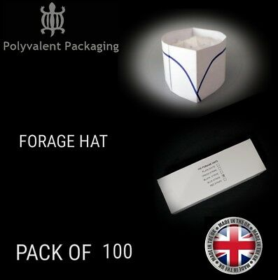 100x Forage Hats Chef Head wear, Disposable Catering White Blue Stripe Chef Hat