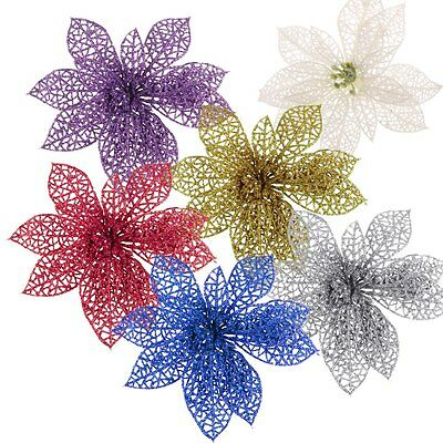 """6"""" Colourful Christmas Flowers Xmas Tree Decoration Glitter Hollow Wedding Party"""