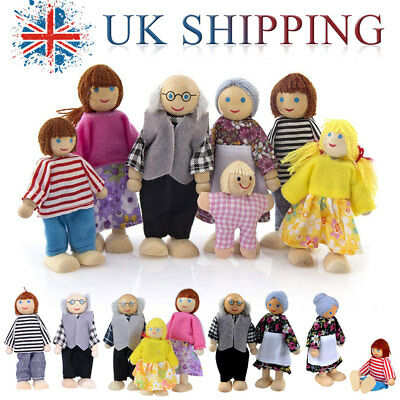 NEW Wooden Sweetbee People doll House figures flexible of 7 Family Dolls house