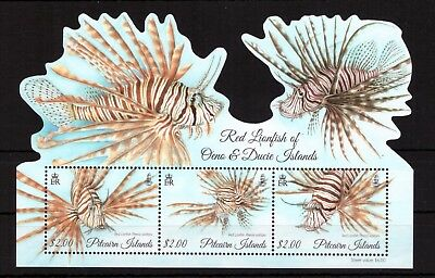Pitcairn Islands MNH 2015 Fish,Marine Life, Red Lionfish sheet mint stamps