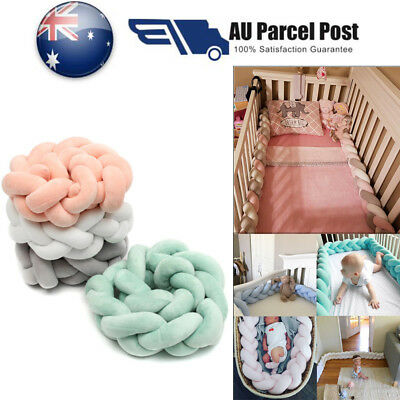Soft Baby Bumper Pillow Bedding Braid Crib Protector Infant Cot Bed Pad Cushion