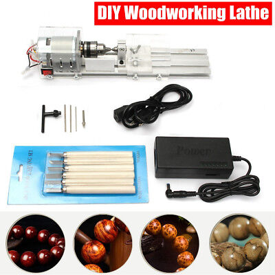 24V 100W Mini Lathe Beads Polisher Machine Table Woodworking Wood Craft Rotary