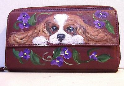 Hand painted cavalier king charles spaniel GAL genuine leather ckeck book wallet