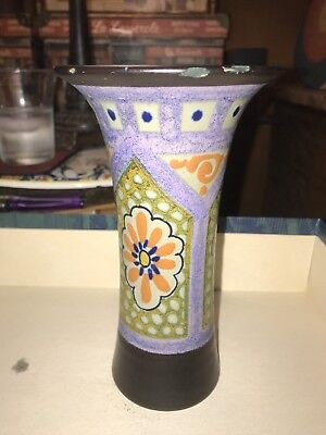 1820 Unsaro Gouda Dutch Pottery Made In Holland Slim Flower Vase