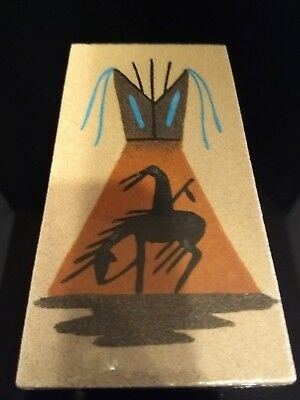 "Authentic Native American Navajo 6"" By 3"" Sandpainting Signed CJ #2237"