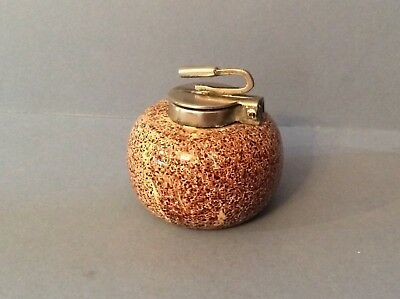 Silver-Plated Curling Stone Ink Well and Paperweight