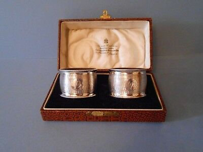 Boxed Pair of Lined Antique Solid Silver Napkin Serviette Rings