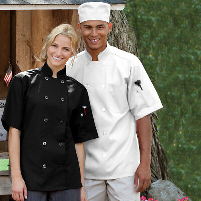 100% Cotton Chef Coat Jacket Chefs Black White Chefwear Press Studs Good Quality