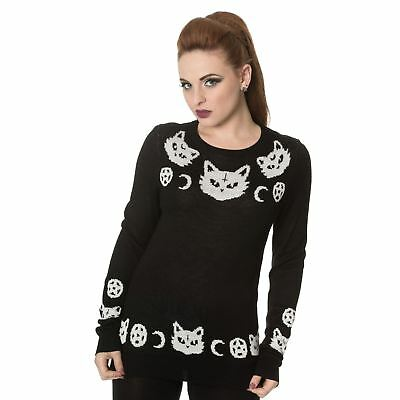 Banned White Cat & Crescent Moon & Pentagram Knitted Gothic Witch Black Jumper