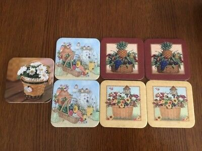 Longaberger Baskets Cork Coaster Set of 7 with Picture Flowers Fruit Daisy
