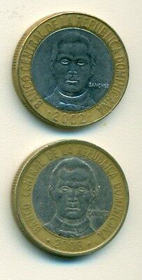 2 BI-METAL 5 PESO COINS from the DOMINICAN REPUBLIC DATING 2002 & 2008