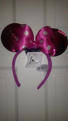 NEW Disney Parks Hot Pink Sequin Minnie Mouse Mickey Ears Headband Bow