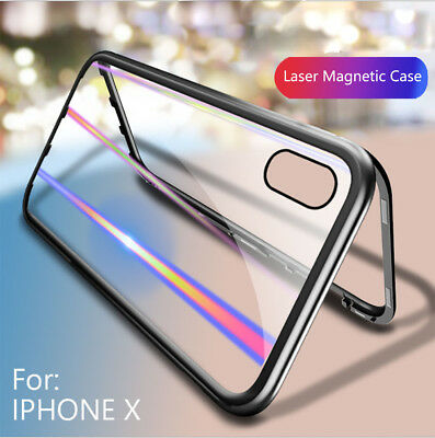 For iPhone X 7 8 Plus 360° Full Magnetic Bumper Tempered Laser Glass Case