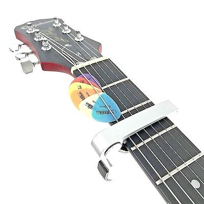Silver CP07 Groove Capo for Electric & Acoustic Guitars+ 6 FREE Plectrums