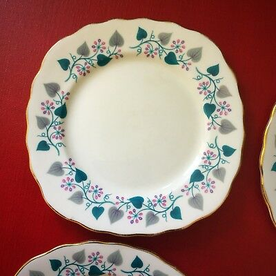 Four Vintage 1950's Royal Vale Ridgway Side Plates; Bone China; Fruiting Vine