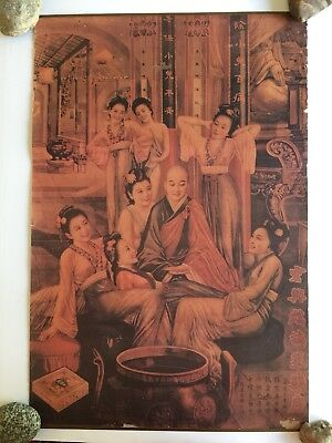"Vintage Chinese Asian Cigar Advertising Poster 30.5x20""  Man With Harem Kitsch"