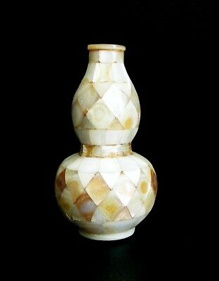 Antique Chinese Engraved Double Gourd Mother of Pearl Snuff Bottle