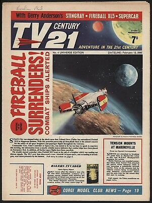 TV CENTURY 21 #4 FEB 13th 1965. THE BEST COPY I HAVE SEEN. FIREBALL XL5/DALEKS