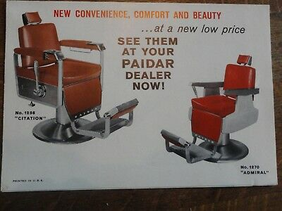 Old PAIDAR Barber Chair Foldout Brochure - Great Color
