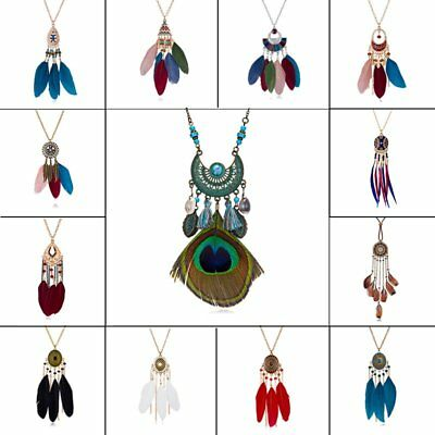 Vintage Boho Ethnic Style Long Geometry Feather Pendant Necklace Sweater Chain