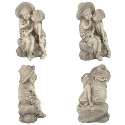 Boy And Girl Sculpture Garden Statue Kissing Child Outdoor Decor Patio Lawn  Yard