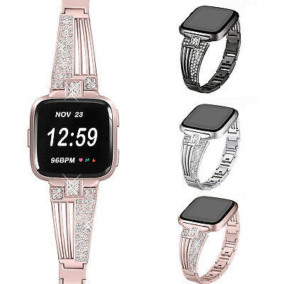 Luxury Stainless Steel Bracelet iWatch Band Rhinestone Strap For Fitbit Versa