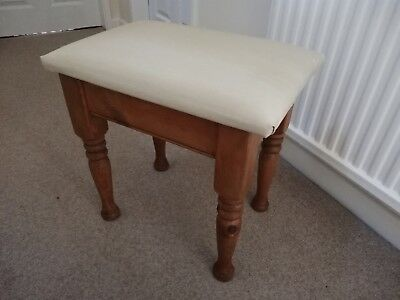 Antique Pine Dressing Table Stool, Recently Upholstered in Beige Shot Silk