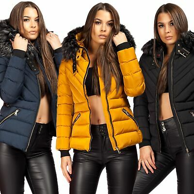 Ladies Women's Quilted Puffer Bubble Padded Jacket Fur Hooded Warm Thick Coat UK