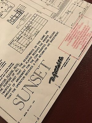 Gottlieb Sunset EM Pinball Arcade Game Schematic Paper Licensed Reproduction