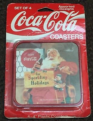 "Coca-Cola Coaster Set Of 4 For Sparkling Holidays 4"" New In Box Packaging NIB"