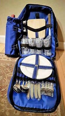 NEW ~ Picnic Backpack Cooler for Four with Detachable Bottle/Wine Cooler