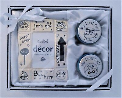 BABY BOY'S PHOTO FRAME w/ FIRST CURL FIRST TOOTH KEEPSAKE BOXES - NIB $24