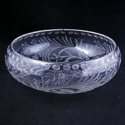 Antique hand cut crystal low bowl with extensive floral designs circa 1900
