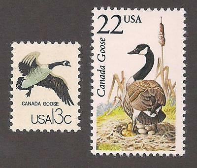 Canada Goose Geese - Set Of 2 U.s. Postage Stamps - Mint Condition