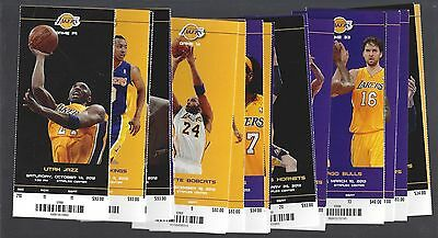 2012-13 Nba La Lakers Complete Season Full Basketball Tickets - Kobe Bryant (43)
