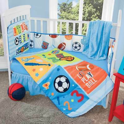 New Boys Little Baby Sports Nursery Crib Blue Bedding Set 5 Pieces Free Blanket